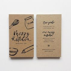 Kraft business cards for Messy Kitchen Baking Co. Love the stylistic illustrations and type to create a 'messy' style - this authenticity of a kitchen/ baking environment is really enhanced through the use of Kraft material. Bakery Business Cards, Business Branding, Business Design, Creative Business Cards, Vertical Business Cards, Simple Business Cards, Craft Business, Corporate Design, Logo Doce