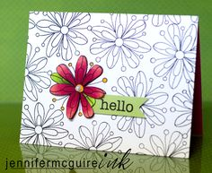black ink on white card, with a splash of color flower and small sentiment
