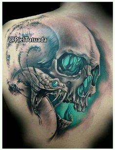 great snake and skull tattoo