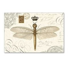 modern vintage French dragonfly Postcards (Package on CafePress.com