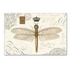 modern vintage French dragonfly Postcards (Package on CafePress.com