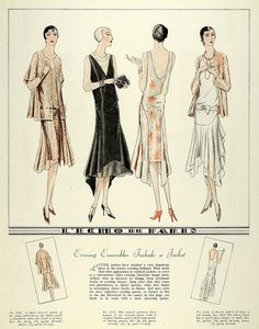 McCall 5461 (jacket & frock), 5541 (evening gown), 5556 (dinner jacket) and 5334 (dance frock) in 1929 20s Fashion, Art Deco Fashion, Fashion History, French Fashion, Fashion Photo, Fashion Design, Flapper Fashion, Ladies Fashion, Flapper Style