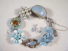 Bridesmaid Gift Upcycled Earring Bracelet by JenniferJonesJewelry, $37.50