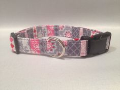 Gray and Pink Print Dog Collar by ALeashACollar on Etsy