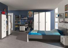 Goodnightkidzz Tienerslaapkamer, studentenkamer in wit met grijs uitgevoerde meubelen als bedden, kasten, bureau's, boekenkasten, opbergrekken. dit alles in diverse uitvoeringen in maat en vormgeving.