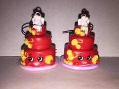 Shopkins Foodie Earrings  Wendy Wedding Cake red  made by ErinEtc