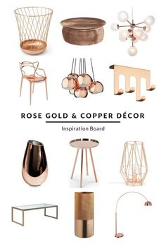A selection of on-trend rose gold and copper pieces to create a beautiful interior – from striking lights to stunning side and coffee tables. Get ideas on how to decorate your living room, bedroom and any other room in your… Continue Reading → Copper Furniture, Furniture Decor, Modern Furniture, Italian Furniture, Furniture Outlet, Furniture Stores, Outdoor Furniture, Diy 2019, Deco Rose