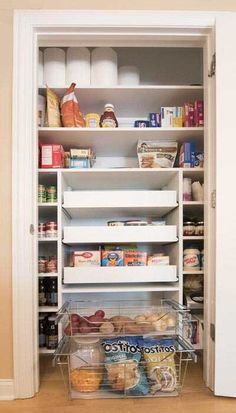 Closet Works Small Pantry Cabinet Example: Use of a pull out shelf for pantry storage was essential in this small pantry closet design. Pantry pull out shelves and baskets provide maximum organization and storage of food.