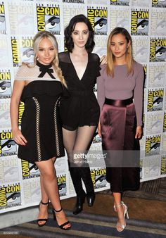 Actors Natalie Alyn Lind, Emma Dumont and Jamie Chung at 'The Gifted' Press Line during Comic-Con International 2017 at Hilton Bayfront on July 22, 2017 in San Diego, California.