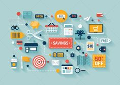 Commerce and Savings Flat Illustration - Commercial / Shopping Conceptual