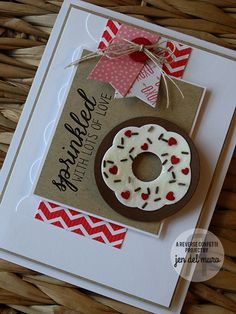 Card cake donut by Jen del Muro. Reverse Confetti stamp set and coordinating Confetti Cuts: Confetti Card Making Inspiration, Making Ideas, Thank U Cards, Food Cards, Confetti Cards, Stampin Up Paper Pumpkin, Pumpkin Cards, Cardiology, Card Tags
