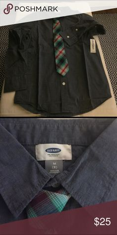 OLD NAVY BOYS'  LONG SLEEVE NWT TIE INCLUDED OLD NAVY, MEDIUM, SIZE 8 Old Navy Shirts & Tops Button Down Shirts
