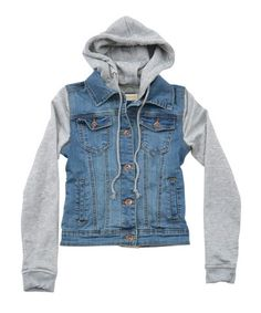 Womens Denim and French Terry Hoodie Jacket