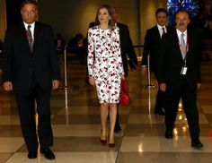 King Felipe and Queen Letizia of Spain arrived in New York to attend the United Nations General Assembly meeting. Queen Letizia met with Director-General of the World Health Organization (WHO), Margaret Chan and xecutive Director of UN Women, Phumzile Mlambo Ngcuka at the United Nations headquarters on September 19, 2016 in New York, United States. (Queen Letizia wore Carolina Herrera Floral Inspired Dress)