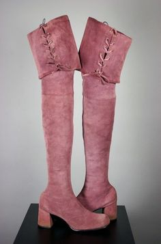 SOLD Vintage boots over the knee 1960s mauve suede lace up cuffs from Viva Vintage Clothing size 8 to 8.5 narrow