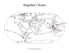 History and geography students can learn about the explorer Magellan's route around the world, starting and ending in Sanlucar de Barrameda. Free to download and print Fernand De Magellan, Social Studies, Geography, Maps, Students, Around The Worlds, History, Learning, Free