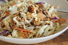 Growing up, my mom regularly made Ichiban salad – a crunchy mix of coleslaw, packaged ramen noodles, toasted almonds and a tangy dressing made with rice vinegar, oil and part of the seasoning…