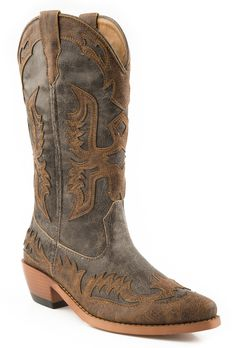"""Roper Womens Grey Fashion Faux Leather 12"""""""" Western Snip Toe Eagle Overlay Boots"""