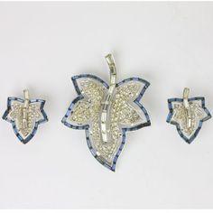 Trifari vintage jewelry - sapphire and diamanté leaf set
