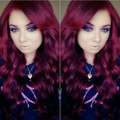 68 Trendy Hair Color Burgundy Dark Red Lips - Hairstyles For All Red Purple Hair, Dark Auburn Hair Color, Burgundy Hair, Red Hair Color, Burgundy Weave, Deep Purple, Wine Hair, Gorgeous Hair, Beautiful