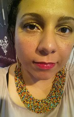 The lighting is a little weird, but whatever! #Mascara on one eye, cream #shadow, I tend to wear just gloss on my lips so here I'm wearing COLOR!!!! 1st time I try our #lip #stain!! I ate, drank wine, stayed intact the whole time! I'm liking my lips like this! What do you guys think? :-D  #BronxSmallBusinessExpo
