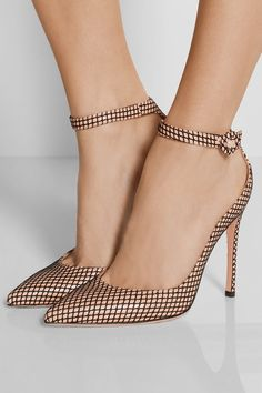 Gianvito Rossi's signature beige pumps are updated with a layer of graphic fishn. - Gianvito Rossi's signature beige pumps are updated with a layer of graphic fishnet. Hot Shoes, Crazy Shoes, Me Too Shoes, Women's Shoes, Shoe Boots, Rossi Shoes, Ankle Shoes, Platform Shoes, Pump Shoes