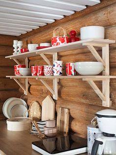 Kitchen Shelves, Kitchen Cart, Open Kitchen, Mobile Sauna, Open Shelving, Country Style, Modern Decor, Cottage, Interior