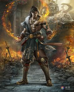 Very fit handsome oriental magician protected in fiery battle by his shield of awesomeness by The 7th orange