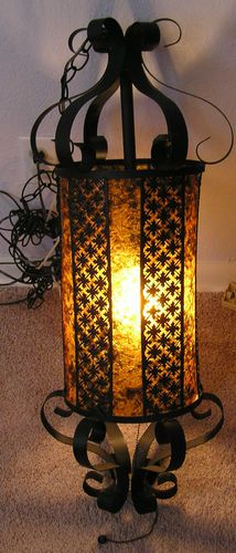Mid Century   Vintage Black Wrought Iron Hanging Chandelier Gothic Lamp