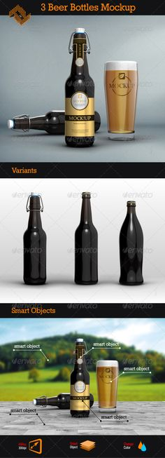 3 Beer Bottles Mockups - Food and Drink Packaging 3 Beer Bottles Mockups  Item DetailsComments  3 Beer Bottles Mockups - Food and Drink Packaging  Screenshots  Share Facebook Google Plus Twitter Pinterest  Add to Favorites  Add to Collection  Features    3 Full Layered PSD File  7000×5000px / 300dpi  Smart Objects (doubleclick the smart object, paste your artwork and save)  Editable Background  PDF Help File