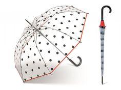 Happy Rain Transparent Dots dámský průhledný deštník s černými puntíky - Značkové deštníky Rain, Dots, Rain Fall, Stitches, The Dot, Polka Dots, Polka Dot