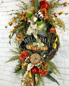 Fall Grapevine Wreath, Welcome Fall Wreath Thanksgiving Wreaths, Thanksgiving Decorations, Holiday Wreaths, Halloween Decorations, Fall Decorations, Thanksgiving 2020, Winter Wreaths, Spring Wreaths, Summer Wreath