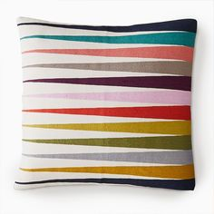 Feel Good Color | west elm Cushion Inserts, Pillow Inserts, Pillow Covers, Linear Pattern, Curtains For Sale, Rug Sale, Graphic Patterns, Decorative Cushions, West Elm