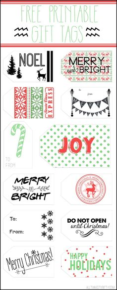 Free printable gift tags to add to your holiday gift wrap! www.thirtyhandmadedays.com