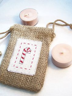 Christmas Gift Bag Burlap Gift Bag Holiday Bag by WitsEndDesign, $4.00