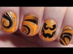 ▶ Easy Halloween Pumpkin Water Marble Nail Art - YouTube