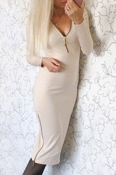 Sexy Plunging Neck Long Sleeve Bodycon Zippered Dress For Women