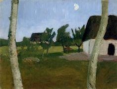 Paula Modersohn-Becker - Houses, birch and Moon