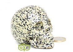 Dalmatiër Jaspis Schedel KS-RMIN-77-323 | Webshop Danielle Forrer | Mineralen | Klankschalen | Koshi shanti's | Zaphir Chimes | Tingsha | Inzichtkaarten | Wierook StamFord | Pendels | etc | Wieringerwerf | Kristallen schedel |