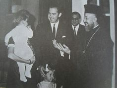 Cyprus Archbishop Makarios III visits with Queen Anne-Marie, holding Crown Prince Pavlos, Princess Alexia and King Constantine II in their Rome apartment, September 1968.