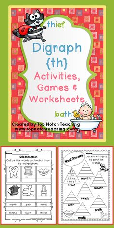 This pack includes fun, hands on activities and games for teaching the digraph 'th'.  These activities are great for individual or small group work.  $ http://www.teacherspayteachers.com/Product/Digraph-Activities-Games-Worksheets-th-700602