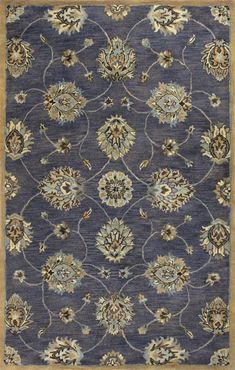 "KAS Rugs Syriana 6024 Midnight Kashan Hand-Tufted 100% New Zealand Wool 8' x 10'6"""