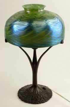Antique Tiffany Studios Peacock Bronze Lamp Base