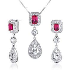 Created Ruby Pendant Earrings Necklace Sterling Silver Rhodium Nickel Finish Radiant Cut Dangle available at joyfulcrown.com