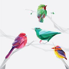 Abstract geometric low polygon birds as elements in a brochure or catalog cover design