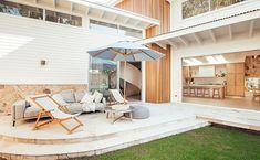 Kyal and Kara | Blue Lagoon Gallery - GlobeWest Outdoor Living Areas, Outdoor Spaces, Outdoor Ideas, Kyal And Kara, Exterior Remodel, Modern Coastal, Blue Lagoon, Coastal Homes, House Goals