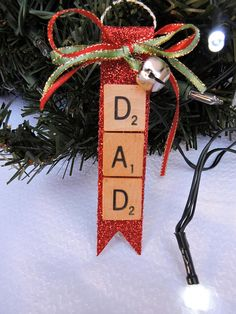 Your place to buy and sell all things handmade Scrabble Crafts, Scrabble Letters, Scrabble Tiles, Green Ribbon, Ribbon Bows, Christmas Tree Ornaments, Christmas Crafts, Jingle Bells, Craft Ideas