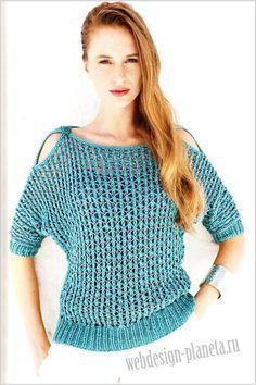 пуловер сетка спицами