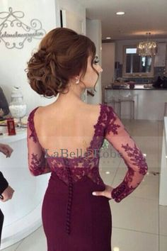 2016 pleine manches en mousseline de soie des robes de bal sirène avec appliques Bordeaux / Marron
