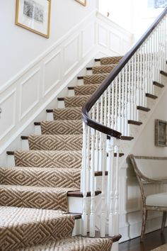 J.K. Kling Design | wonderful sisal stair runnner with panel moulding and white walls Foyer, Entryway, Entrance Hall, Traditional House, Stairways, Sisal Runner, Interior Design, Instagram Posts, Architectural Digest